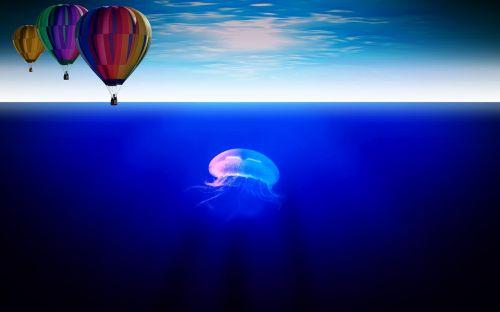 balionas,jūra,medūza,platus,giliai,toli,ilgesys,aplinka,nuotykis,vanduo,svajonė,karšto oro balionas,nuotaika