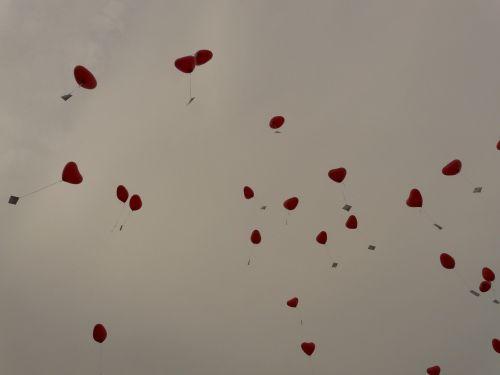 balionai,širdis,meilė,kortelės,skristi,romantika