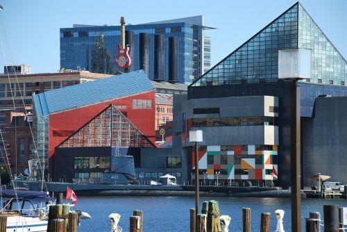 Baltimoro vidinis uostas,centrinė dalis Baltimore,baltimore,uostas,vanduo,vaizdas,turizmas,kranto,baltimore hard rock cafe