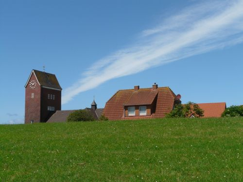 baltrum,Šiaurės jūra,sala,bažnyčia,bokštas,kaimas,namai,namai,bendruomenė,kopos sala,rytinė frisia,žemutinė Saksonija,rytų fryzų sala