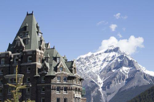 banff, spyruoklės, viešbutis, kalnai, Banff spyruoklės viešbučio kalnuose