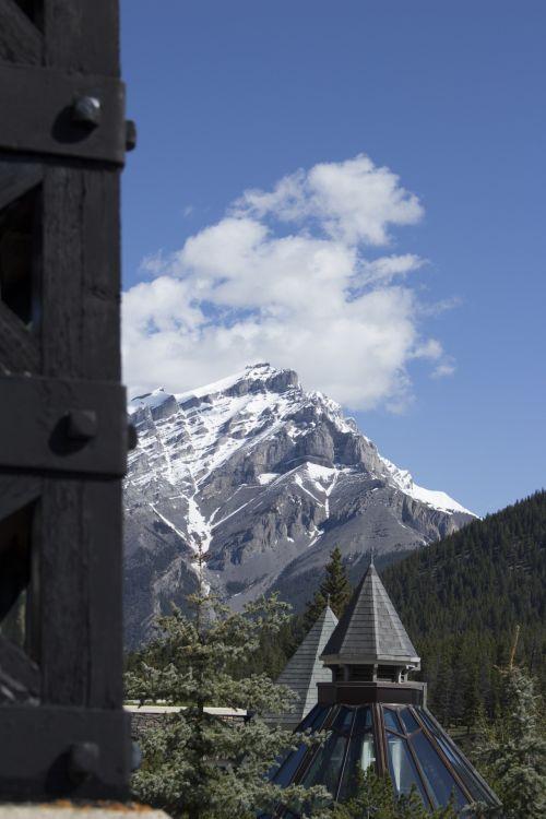 banff, spyruoklės, viešbutis, uolos ir kalnus, Banff spyruoklės viešbučio kalnuose