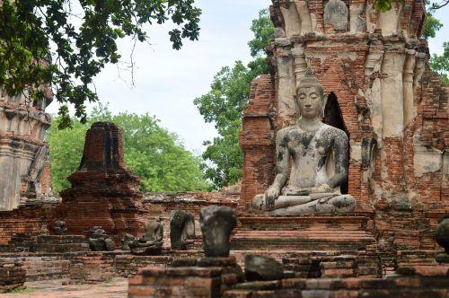 Bangkokas,Ayutthaya,senovės sostinė,griuvėsiai,senas,pastatas,istorija,Budos statulos,lotoso laikysena,meditacija