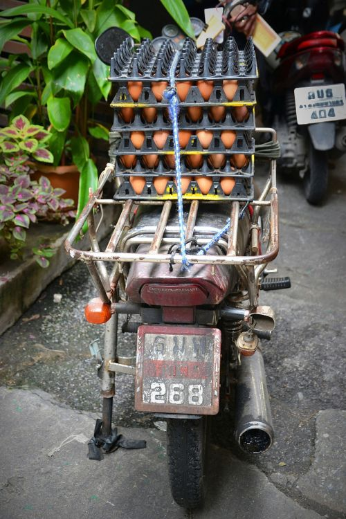 Bangkokas,mopedas,kiaušinis,trapi,jautrus,transportas,Tailandas