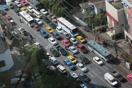 Bangkokas, eismas, automobilis, gatvė, kelias, skubėti & nbsp, valandą, Bangkoko eismas
