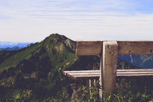 bankas,kalnas,vaizdas,atsipalaiduoti,sėdėti,dangus,saulė