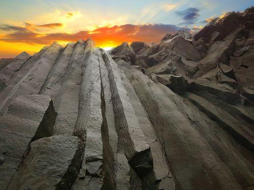 bazalto barai,saulėlydis,iceland,kirkjufjara,aukso debesys,Rokas,stačiakampis,juoda