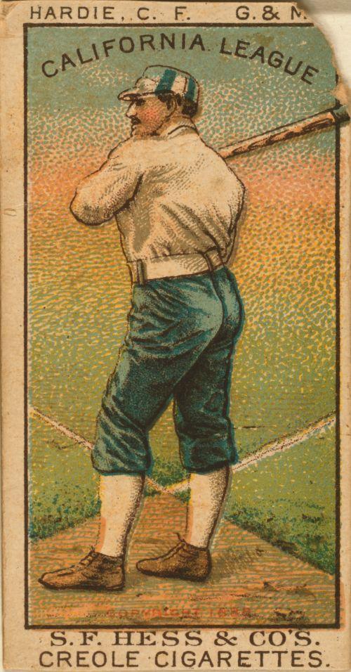 iliustracija, grafika, vintage, portretas, asmuo, vyras, Patinas, žaidėjas, beisbolas, Sportas, žaidimai, senas, kortelės, cigaretės, tabakas, Kalifornija, beisbolo korta