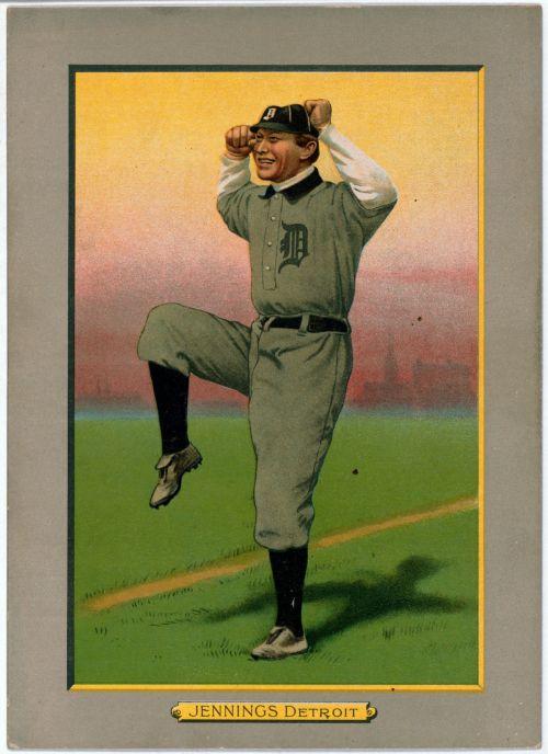 beisbolas, Sportas, vintage, seni & nbsp, 1911 & nbsp, detroitai & nbsp, tigrai, Jennings, rankos & nbsp, spalvos, spausdinti, žaidėjas, žaidimas, Laisvas, vaizdas, viešasis & nbsp, domenas, beisbolo žaidėjas detroit tirai