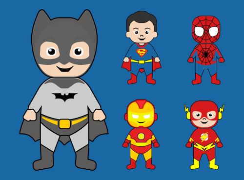 batman,supermenas,Geležinis žmogus,žmogus-voras,Super herojus,komiksas,animacinis filmas,charakteris,vaikas,mielas,laisvas vektorius,nemokamas vaizdas,veiksmo herojus,nemokama vektorinė grafika
