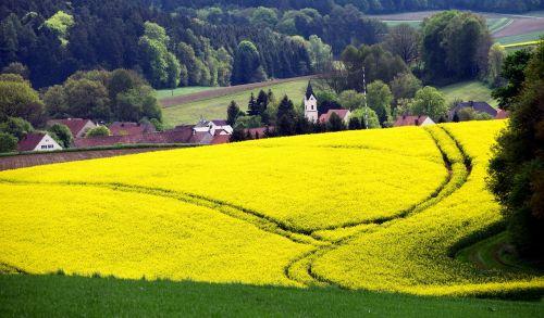 bavarija,Vokietija,bažnyčia,kaimas,šalies gyvenimas,kraštovaizdis,rapsų sėklos,Žemdirbystė,panorama,mažas,mažas kaimas,taikus,idilija,romantiškas,pavasaris,gamta,kaimas,mažas kaimas