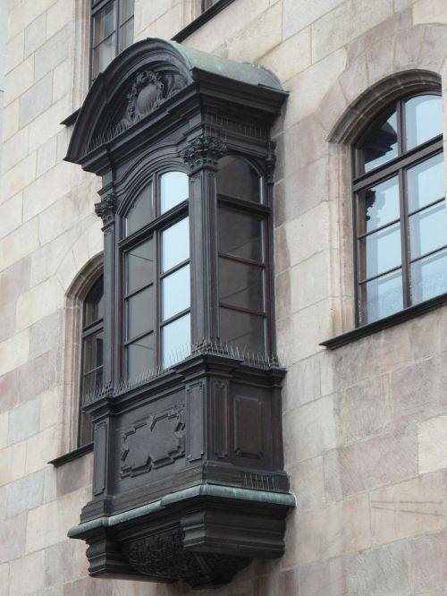 Lauko langas,balkonas,fasadas,namai,mediena,miškai,pastatas,Niurnbergas,Senamiestis,medinis balkonas