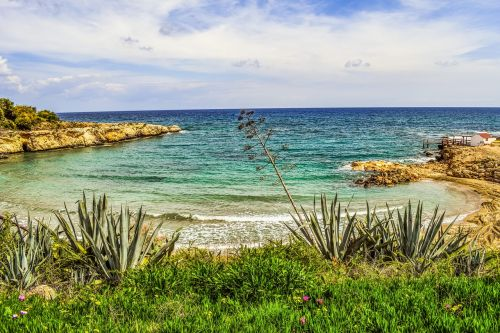 papludimys,jūra,įlanka,kraštovaizdis,Viduržemio jūros,augmenija,alijošius,kranto,gamta,kapparis,Kipras