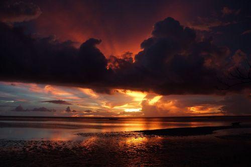 papludimys,saulėlydis,jūra,farbenpracht,vakarinis dangus,afterglow