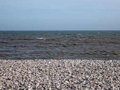 papludimys,Krantas,akmenukai,trys,sluoksniai,trispalvis,trispalvis,sluoksniai,mėlynas,kranto,vandenynas,jūra,pakrantė,horizontas,dangus,tekstūros,vanduo