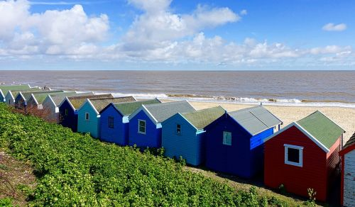 paplūdimio namas,nameliai,pajūryje,spalvinga,tradicinis,Anglija,kajutės,pastatai,spalvinga,panorama