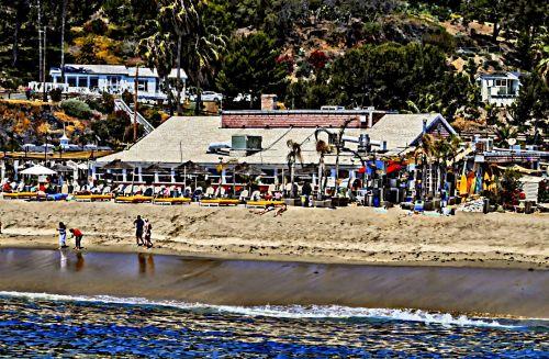 papludimys, vandenynas, restoranas, kurortas, pietauti, vasara, paplūdimio restoranas