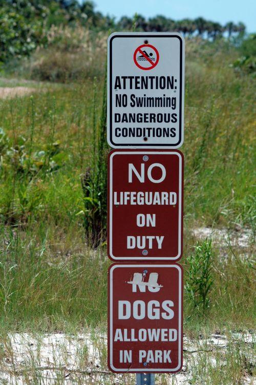 įspėjimas & nbsp, ženklas, ženklas, papludimys, saugumas, ne & nbsp, šunys, draudžiama, nė vienas & nbsp, gelbėtojas, lauke, kraštovaizdis, vandenynas, paplūdimio įspėjimo ženklas