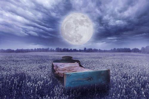 lova,pilnatis,pieva,laukas,Labos nakties,mėnulio šviesa,naktis,mėnulis,nuotaika,senoji lova,pavargęs,miegoti,lauko lova,debesys,kraštovaizdis,naktinis dangus,foto montavimas,komponavimas,fantazijos paveikslėlis