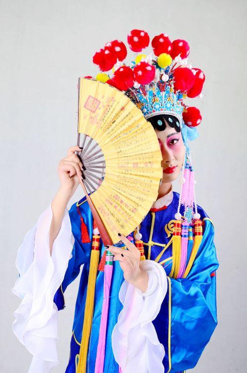Pekino opera,Kinija,kvintesencija,ventiliatorius,apranga,tradicinis,asian,moteris,asian,sunku,veidas