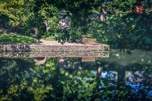 suoliukas, parkas, vienišas, parko suoliukas, žalias, lauke, sėdynė, atsipalaiduoti, vandens, medinis, ramus