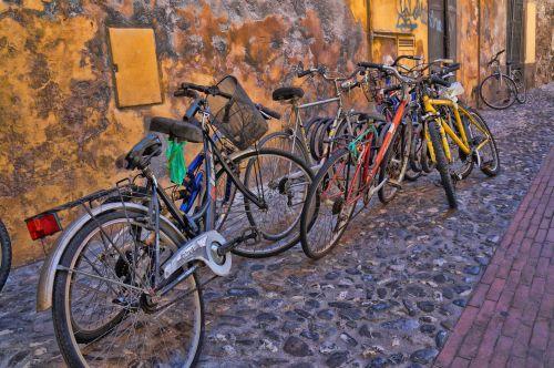 dviračiai, dviračiai, vieta, sutrikimas, automobilių & nbsp, parkas, spalvos, netvarkingi dviračiai