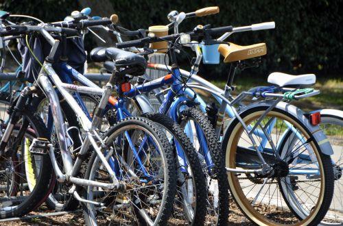 dviračiai, dviračiai, gabenimas, pastatytas, krūva, susietas, užtikrintas, parkas, lauke, stovi dviračiai