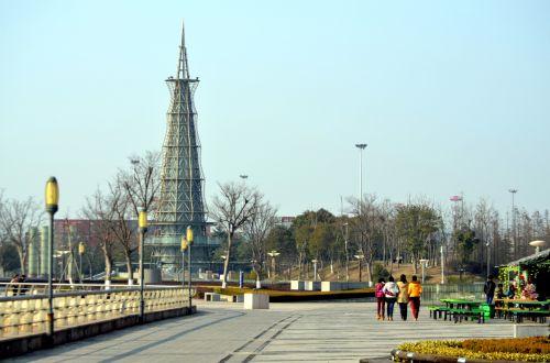 Parkas, kraštovaizdis, upės ir nbsp, parkas, Nantongas, Kinija, Jangdzė, upė, Binjiang parkas
