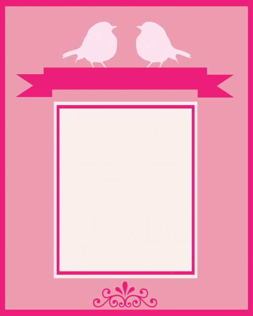 paukštis, paukščiai, rožinis, kortelė, šablonas, kvietimas, Vestuvės, įsitraukimas, menas, iliustracija, Scrapbooking & nbsp, mielas, paukščio kortelės šablonas