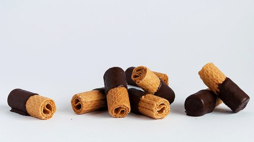 sausainiai, Vafliniai, sausainis, desertas, Šokoladas be, Juodasis šokoladas, vaflių, konditerijos, šokoladas
