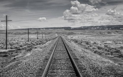 juoda ir balta,Utah,traukinio bėgiai