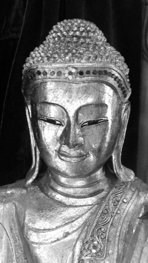 buda, statulėlė, figūrėlė, pilka, pilka, juoda & nbsp, balta, juoda ir baltoji Budos statulėlė