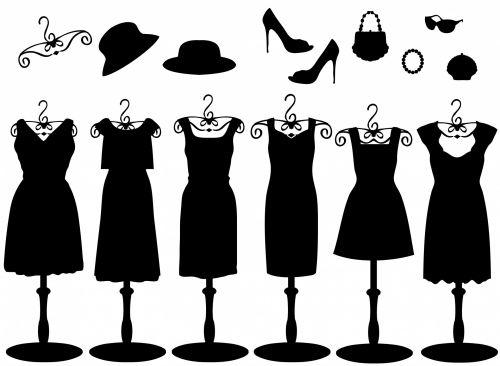 suknelė, suknelės, aksesuarai, juoda, Iliustracijos, skrybėlę, skrybėlės, apranga, avalynė, piniginė, maišas, sankaba & nbsp, maišas, graži, mielas, iliustracija, Scrapbooking, mada, prašmatnus, madinga, elegantiškas, juoda suknelė & amp, aksesuarai