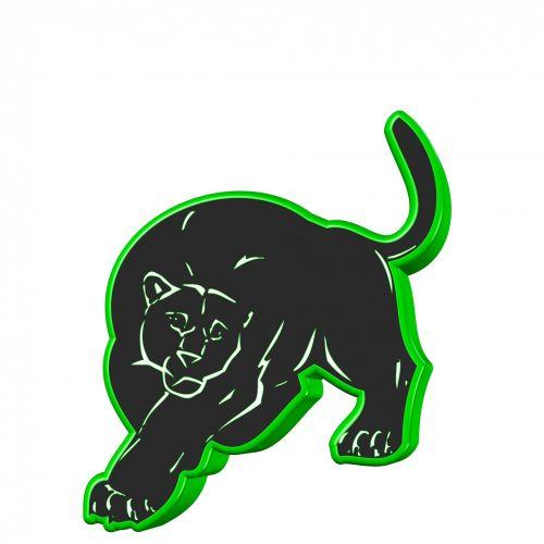 juoda, Puma, 3d, žalias, kontūrai, siluetas, laukiniai, fonas, balta, izoliuotas, puma, gyvūnas, juoda puma
