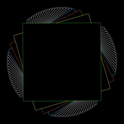 kvadratas, kartojasi, pasukta, besiūliai, juoda, linija, piešimas, geometrinis, kampai, aštrus, linijos, raudona, geltona, žalias, mėlynas, juodas kvadratas, pakartojantis fonas