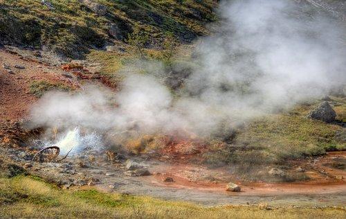 kraujo geizeris, Jeloustouno nacionalinis parkas, kraštovaizdis, lauke, Jeloustouno, parkas, Vajomingas, Montana, pilietis, vaizdingas, miškas, Nacionalinis parkas, geizeris, pavasaris, geoterminis, karšto, baseinas, spalvinga, garai