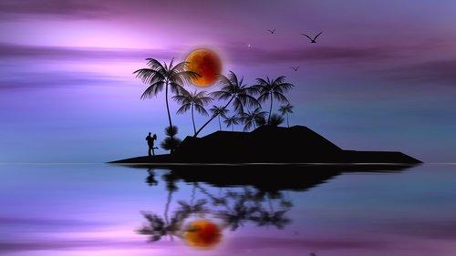 kruvinas mėnulis, sala, palmės, mėgėjai, Romantika, kraštovaizdis, Nemokama iliustracijos