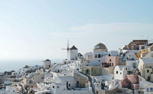 mėlynas,dangus,Graikija,vėliava,graikų kalba,pastatai,sala,kalnas