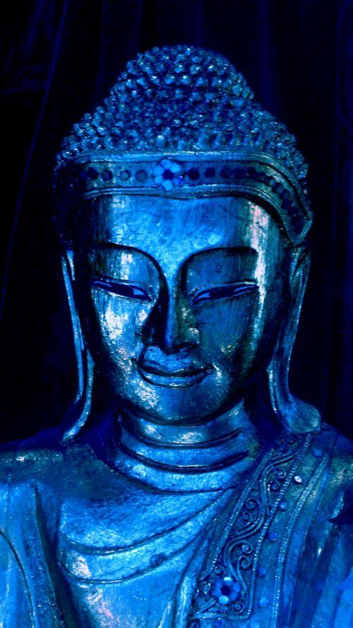 mėlynas, buda, statulėlė, figūrėlė, mėlyna Budos statulėlė figūrėlė