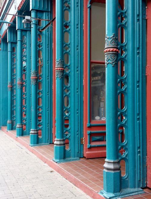 architektūra, stulpeliai, eilutė, mėlynas, takas, mėlynos stulpeliai (1)