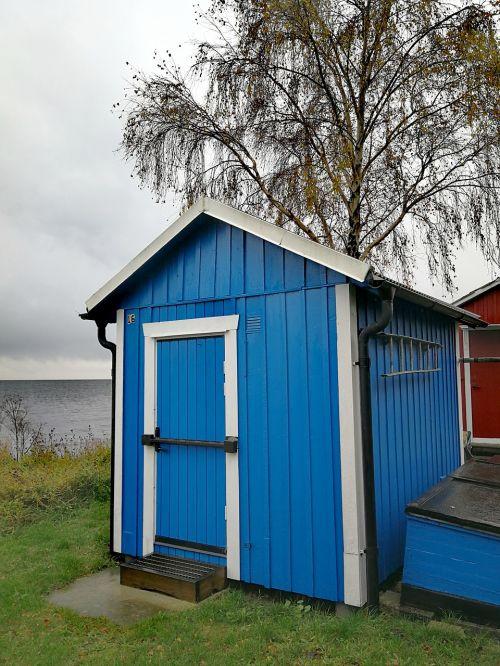 Boathouse, Mėlynas, Ruduo, Jūra, Švedija, Lietingas Oras, Drėgnas Oras