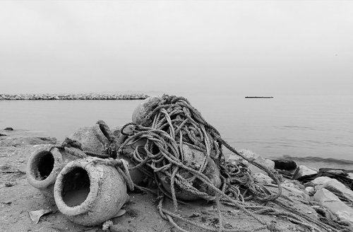 Vandens telkinys, jūra, vandenynas, pusė, papludimys, balsuokite, žvejybos, aštuonkojai, keramika