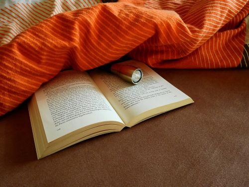 knyga,skaityti,literatūra,mokytis,tekstas,šrifto,puslapis,lova,antklodė,žibintuvėlis,popierius