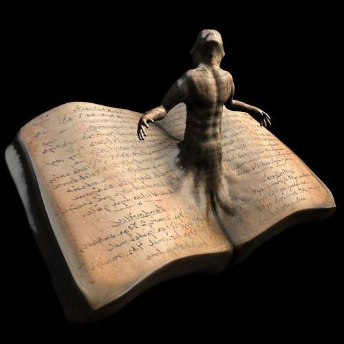 3d, knyga, dvasia, ateis, out, piešimas, paslaptis, izoliuotas, figūra, juoda, fonas, romanas, fantazija, knygos dvasia