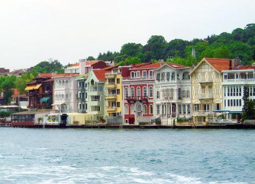 Fosforas, Turkija, Istanbulas, Namai, Namai Fasadai, Spalva, Spalvoti Namai