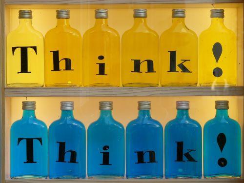 buteliai,įspaudas,stiklas,galvoti,geltona,mėlynas,spalvinga,spalva,gaudy