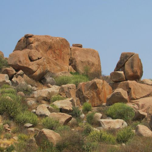 rieduliai,mėlynas dangus,hampi,Indija,kraštovaizdis,dykuma,peizažas,natūralus,laukiniai,lauke,aplinka,vaizdingas,žemė,gamta,ramus