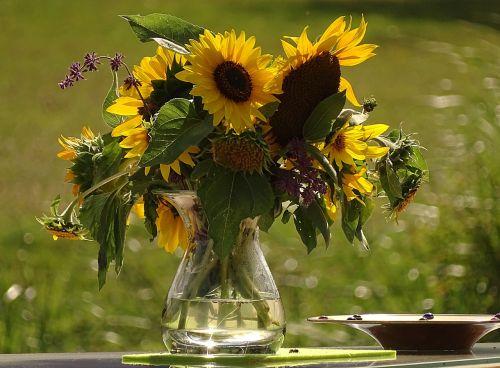 puokštė,saulėgrąžos,šviesus,geltona,farbenpracht