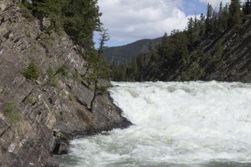 lankas, kritimo, banff, Alberta, uolingas, kalnai, krioklys, lankas patenka banff alberta kalnuose