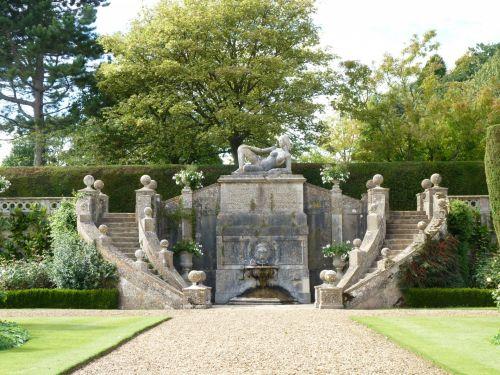 Anglija, Wiltshire, slubas, Bawood & nbsp, namas, namas namas, sodas, statula, paveldas, žingsniai, veja, klubo namas